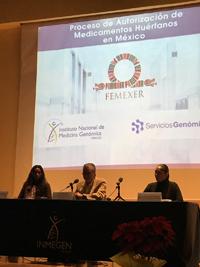 Paulina Peña Aragón, directora del programa AcceSalud de Femexer;  David Peña Castillo Presidente de Femexer; Y Roxana Suaste Villanueva, directora general de Servicios Genómicos de Inmege.