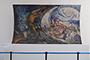 """El mural """"Claridad científica frente a los dogmas y fanatismos"""" también conocido como """"El oscurantismo frente a la claridad de la ciencia"""", del pintor chileno Osvaldo Barra Cunningham, fue donado a la Academia Mexicana de Ciencias por la familia del científico Mauricio Russek Berman."""