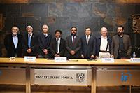 Integrantes del presìdium y ganadores del Premio Jorge Lomnitz Adler 2018, Medalla Fernando de Alba y Medalla Marcos Moshinsky.