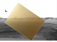 Primera imagen a color enviada por la misión Curiosity. La vista se dirige hacia el norte y muestra una cresta del cráter Gale.