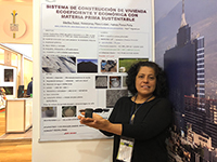 La investigadora Martha Poisot, de la Universidad de Papaloapan, en Oaxaca, presentó una propuesta para utilizar un nuevo material que sustituye al cemento, durante el Shark Tank en el segundo y último día del Primer Foro de Ciencia, Tecnología e Innovación 2018, en el que aspirantes a emprendedores trataron de convencer a inversionistas de financiar su proyecto.