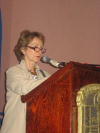 La coordinadora de la Olimpiada Mexicana de Historia (OMH), Soledad Loaeza, durante la inauguración.