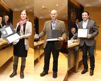 Los investigadores Mariana Benítez Keinrad, Augusto García Valenzuela y Juan Faustino Aguilera Granja, ganadores del Premio 'Jorge Lomnitz Adler' y de las medallas 'Fernando Alba' y 'Marcos Moshinsky', respectivamente.
