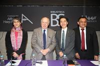 Azucena Galindo, directora general de IBBY México; Bruno Newman, presidente del Consejo Directivo de IBBY México; Jaime Urrutia Fucugauchi, presidente de la AMC; Alfredo Osorio, subdirector de Diagnóstico y Reinserción de la DGTPA.