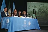 En la rueda de prensa para la presentación de los resultados del Foro Internacional Primatología, Diversidad Biocultural y Desarrollo Sostenible, realizado en septiembre de 2017, participaron Juan Carlos Serio Silva, Nuria Sanz, Paula González y María Alejandra Romer.