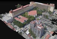 Modelo tridimensional de la Facultad de Medicina de la UNAM, extraído de un video que lo muestra girando de manera continua, de modo que es posible observarlo desde cualquier dirección para conocer la forma de los edificios, los espacios entre ellos, las instalaciones en las azoteas y los puntos de reunión en caso de desastre, entre otros aspectos.