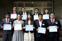 Ganadores de primer, segundo y tercer lugares del Premio Nacional Juvenil del Agua 2017 en la Embajada de Suecia en México.