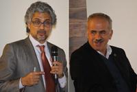 Los doctores Guruduth  S. Banavar, de IBM-Nueva York, y Luis Enrique Sucar, del INAOE, participaron en el Seminario Inteligencia Artificial y el Futuro de México. Primer Evento, realizado en el auditorio de Consejo Nacional de Ciencia y Tecnología.