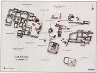 Mapa de la ciudad maya de Calakmul.