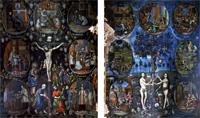 Lienzos del Retablo Mayor de la Iglesia de Santa Cruz, Tlaxcala.<br /> Fotos de Ángela Arziniaga y Everardo Rivera<br /> Luisa Ruiz Moreno, El árbol dorado de la ciencia. Proceso de figuración en Santa Cruz Tlaxcala,<br /> BUAP, Secretaría de Cultura de Puebla, 2003.