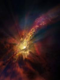 """Representación artística que muestra la condensación de nubes de gas molecular frío alrededor del cúmulo de galaxias Abell 2597. Las nubes se condensan a partir del gas caliente que ocupa el espacio entre las galaxias de este cúmulo. Nuevos datos de ALMA evidencian que la """"lluvia"""" de estas nubes se precipita hacia el agujero negro supermasivo situado en el centro de una galaxia, que a su vez se encuentra en el centro del cúmulo Abell 2597."""
