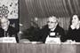 Los doctores Ruy Pérez Tamayo, Eusebio Juaristi y Linda Manzanilla en la actividad diurna del simposio