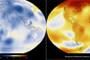 (NASA/GISS) Mapa codificado por colores que muestra una progresión de cambio de temperaturas superficiales globales de 1884 a 2014. El azul oscuro indica las zonas más frías que la media. El rojo oscuro indica las áreas más cálidas que el promedio.