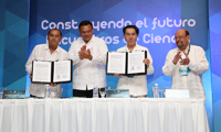 Firma del convenio de colaboración entre la AMC y la Secretaría de Investigación, Innovación y Educación Superior.
