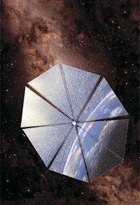 Recreación artística del velero solar Cosmos1. Las velas reflejan partículas de luz, o fotones del sol, dando impulso en dirección opuesta y propulsando la nave hacia adelante.