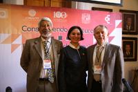 José Luis Morán, presidente de la AMC; Ireri Suazo, coordinadora de la Investigación Científica de la UNMSNH; y Arturo Menchaca, coordinador del Consejo Consultivo de Ciencias, inauguraron en Morelia, Michoacán, la reunión académica Construyendo el futuro. Encuentros de Ciencia 2017.