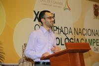 Diego Echánove Cuevas, de Tijuana, Baja California, ganador de medalla de plata en la Olimpiada Iberoamericana de Biología 2016, dio un mensaje a los participantes del certamen durante la etapa nacional.