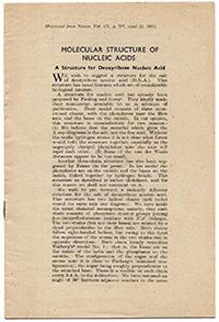 Imagen del artículo publicado en la revista Nature el 25 de abril de 1953.