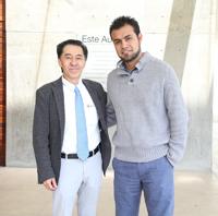 Jaime Urrutia Fucugauchi, presidente de la Academia Mexicana de Ciencias, y Jorge Iván Amaro Estrada, asociado postdoctoral del Instituto de Ciencias Físicas de la Universidad Nacional Autónoma de México (UNAM), uno de los cinco mexicanos que participan en la 66ª Reunión Lindau de Premios Nobel.