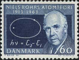 Niels Bohr en un sello postal de Dinamarca