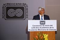 Doctor José Luis Morán López, presidente de la Academia Mexicana de Ciencias (2017-2020), ofrece su primer discurso durante la ceremonia de Inicio del LVIII Año Académico de la AMC.
