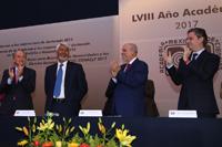 Juan Manuel Carreras, gobernador del estado de San Luis Potosí; José Luis Morán, Enrique Cabrero y Aurelio Nuño en la ceremonia de Inicio del LVIII Año Académico de la Academia Mexicana de Ciencias.