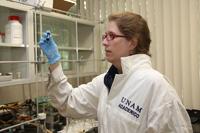 La investigadora Ana Sofía Varela Gasque, del Instituto de Química de la UNAM, trabaja en un proyecto que pretende usar energía eléctrica para llevar a cabo reacciones químicas; de manera específica se enfoca en convertir el CO2 en otro compuesto a base de carbono que sirva como combustible para la industria química.