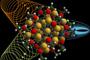 Simulación de la incidencia de la luz sobre una nanopartícula.