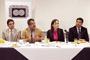 Jorge Salas Hernández, director del INER; José Franco, presidente de la AMC, Lourdes Barrera, responsable del programa; y Jesús Mendoza, representante del director general del Conacyt, durante la presentación del programa Ciencia que se Respira.