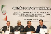 Armando Mansilla, José Luis Morán, José Franco y Cristopher Scott en la reunión con integrantes del Comité de Ciencias de la Sostenibilidad en las Zonas Áridas México-Estados Unidos, en las instalaciones del Senado de la República.