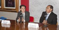 El doctor Jaime Urrutia, miembro de El Colegio Nacional y presidente de la Academia Mexicana de Ciencias, presente en la firma del convenio entre el ECN y el SIIES de Yucatán.