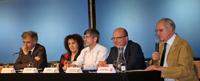 """Jean Joinville, Julia Tagüeña, William Lee, Cristoph Sorger y José Seade, en la inauguración de la Unidad Mixta Internacional """"Laboratorio Solomon Lefschetz"""