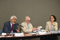 El presidente de la AMC, José Luis Morán (izquierda)  y la vicepresidenta de la AMC, Susana Lizano Soberón (derecha),  dieron la bienvenida al Comité Ejecutivo de IANAS.