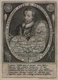 Grabado del corsario inglés Francisco Dracus (Francis Drake).