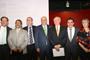 Los integrantes de la mesa de honor en la ceremonia de relevo de la dirección general del FCCyT. De izquierda a derecha Ramón Muñoz, José Franco, Francisco Bolívar, Enrique Cabrero, José Narro, Joshua Mendoza y Gabriela Dutrénit.