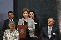 La secretaria de Cultura, María Cristina García Cepeda, en la entrega de Premios Nacionales 2018, en Los Pinos.