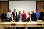 Jaime Urrutia, presidente de la AMC; Leonardo Lomelí, secretario general de la UNAM; y Javier Nieto, coordinador general de Posgrado, presentaron a los estudiantes de doctorado de la UNAM que viajarán a Australia en el marco de un programa de estancias académicas de doctorado; y sus respectivos tutores.