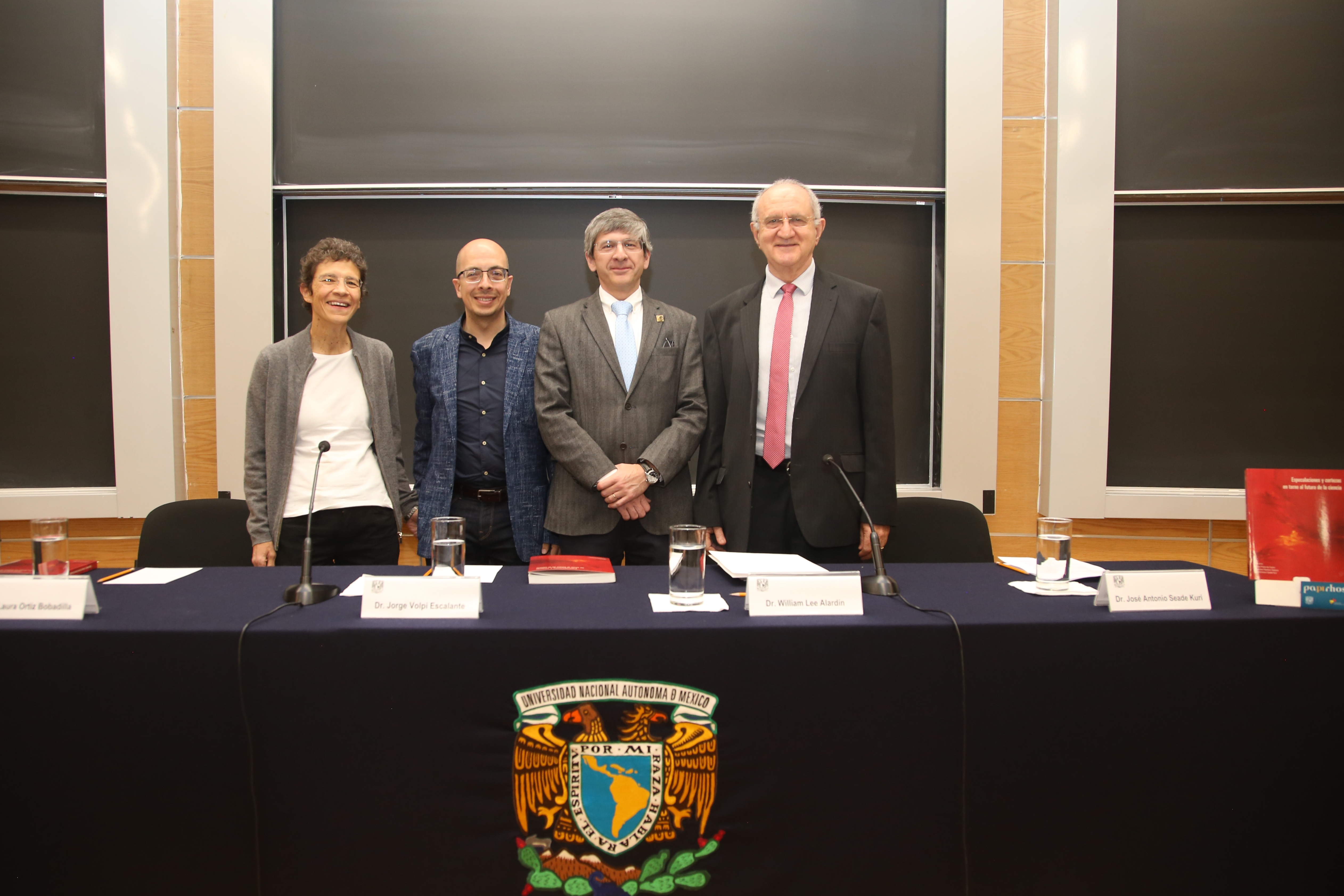 Laura Ortiz Bobadilla, Jorge Volpi Escalante, William Lee Alardín y José Antonio Seade Kuri.