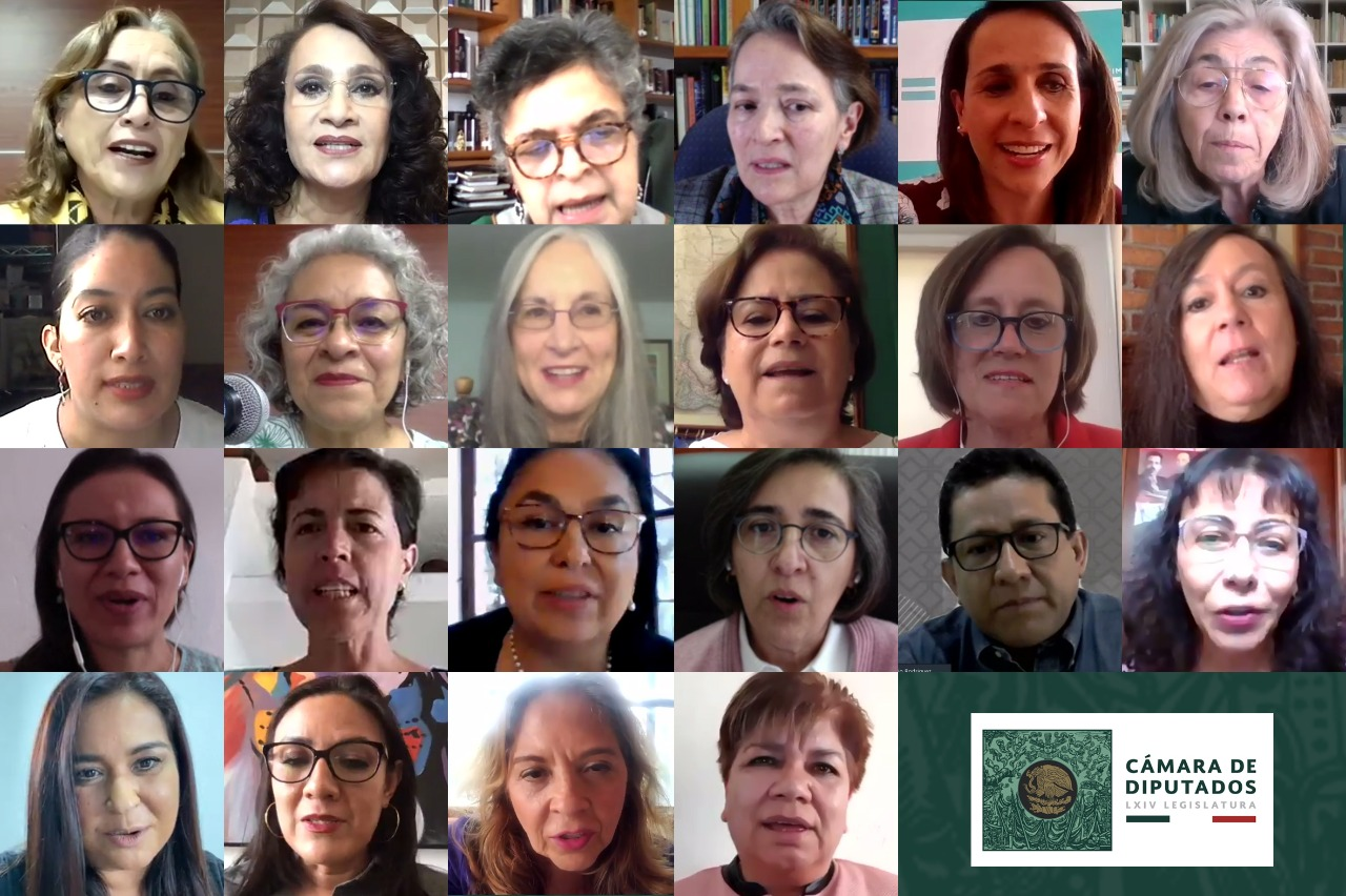 """Participantes del conversatorio """"Mujeres Científicas en México"""" realizado de manera virtual. Imagen: Cortesía de la de la LXIV Legislatura de la Cámara de Diputados."""
