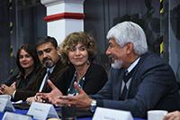 Ofelia Angulo, Raúl Pantoja, Rosaura Ruiz, José Luis Morán durante la firma de convenio entre la SECTEI y la AMC.