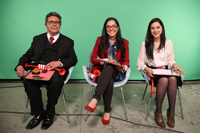Los historiadores Erik Velásquez, Valeria Sánchez Michel y Andrea Rodríguez Tapia, integrantes del comité académico de la Olimpiada Mexicana de Historia.