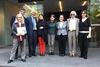 Se reúnen los equipos de la AMC y el Conacyt. De izquierda a derecha: Carmen de la Peza, Carlos Coello, José Luis Morán, María Elena Álvarez-Buylla, María Ester Brandan, Susana Lizano, Alipio Calles y Concha Ruiz.