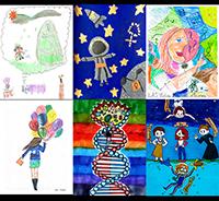 Segundo Concurso de Dibujo Infantil sobre Las Mujeres y Las Niñas en la Ciencia, convocado por la Academia Mexicana de Ciencias. En la imagen, de izquierda a derecha, ganadores de los tres primeros lugares. Arriba, categoría A (6 a 10 años). Abajo, categoría B (11-15 años).
