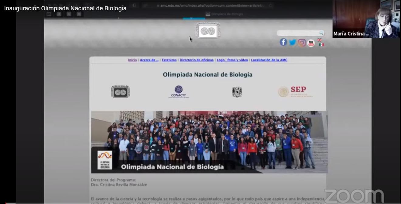 La XXX Olimpiada Nacional de Biología llegó este año de manera virtual. Imagen: Captura de pantalla de reunión.