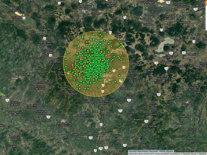 Enjambre sísmico reportado en Michoacán.