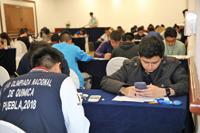 En el primer día de actividades de la XXVII Olimpiada Nacional de Química que se celebra en la ciudad de Puebla, los alumnos de nivel bachillerato presentaron los exámenes teóricos.