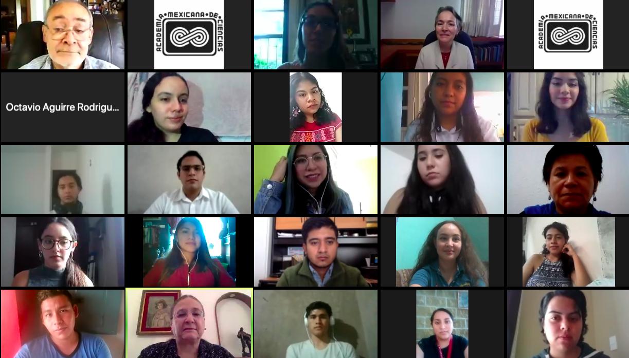 """Participantes del conversatorio """"Captura de pantalla de la ceremonia virtual del XXX Verano de la Investigación Científica."""