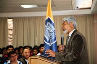 El doctor José Luis Morán, vicepresidente de la Academia Mexicana de Ciencias y director del Consejo Potosino de Ciencia y Tecnología, en la inauguración de la XXVI Olimpiada Nacional de Química.