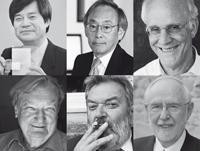 Premios Nobel participantes en el primer día del programa científico de la 66ª Reunión de Lindau: Hiroshi Amano, Tahhaaki Kajita, David Gross, Carlo Rubbia, Martinus Veltman y Arthur McDonald.