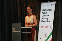 Bettina Bernardotte, presidenta del Consejo de las Reuniones Lindau de Premios Nobel, durante su participación en la ceremonia y cena de gala que ofreció México, anfitrión este año del International Day.